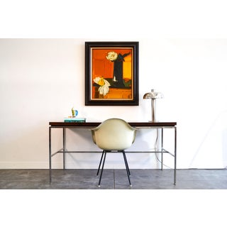 1960s Mid-Century Modern Drexel Walnut Top Chrome Legs Desk Table Preview