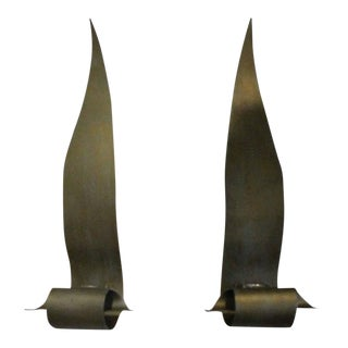 Brutalist Brass Leaves Wall Light Sconces - a Pair For Sale