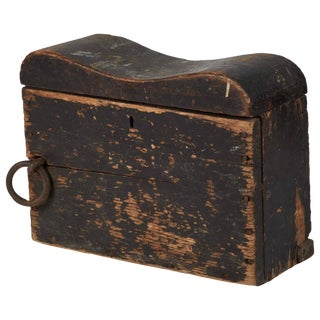 1880s English Black Painted Nautical Box Recovered From Ship For Sale