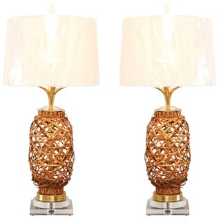 Exquisite Pair of Restored Vintage Rattan Vessels as Custom Lamps For Sale