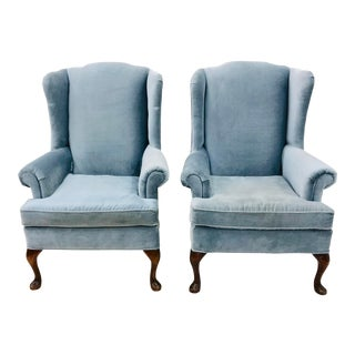Pair Queen Anne Style Wingback Arm Chairs For Sale