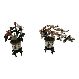 Vintage Chinese Miniature Jade Trees in Cloisonné Pots - a Pair For Sale
