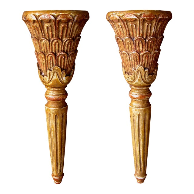 A Handsome Pair of Italian Neoclassical Style Carved Wall Sconces For Sale