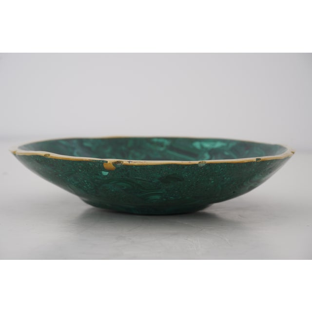 Contemporary Vintage Round Malachite Dish With Scalloped Brass Rim For Sale - Image 3 of 9