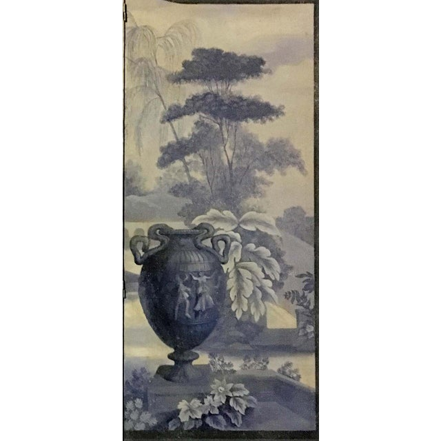 Vintage European 3-Panel Top Shaped Blue & White Screen For Sale - Image 4 of 6