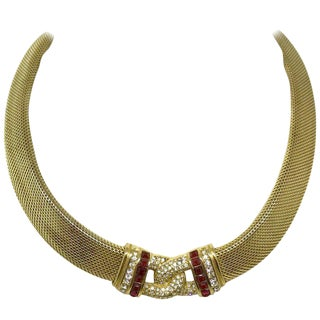 1970s Christian Dior Woven Goldtone Necklace With Red Faceted Stones For Sale