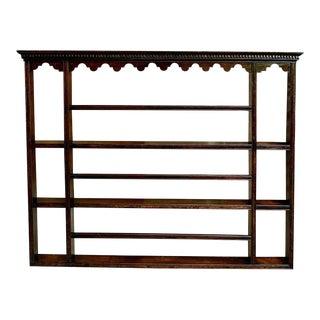 Antique English Carved Dark Oak Plate Platter Wall Rack For Sale
