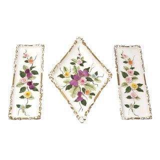 Vintage Porcelain Flower Wall Plaques by Lefton Japan - Set of 3 For Sale