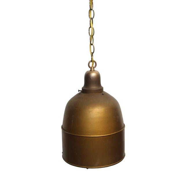 Late 20th Century Brass Dome Industrial Pendant Light For Sale - Image 5 of 5