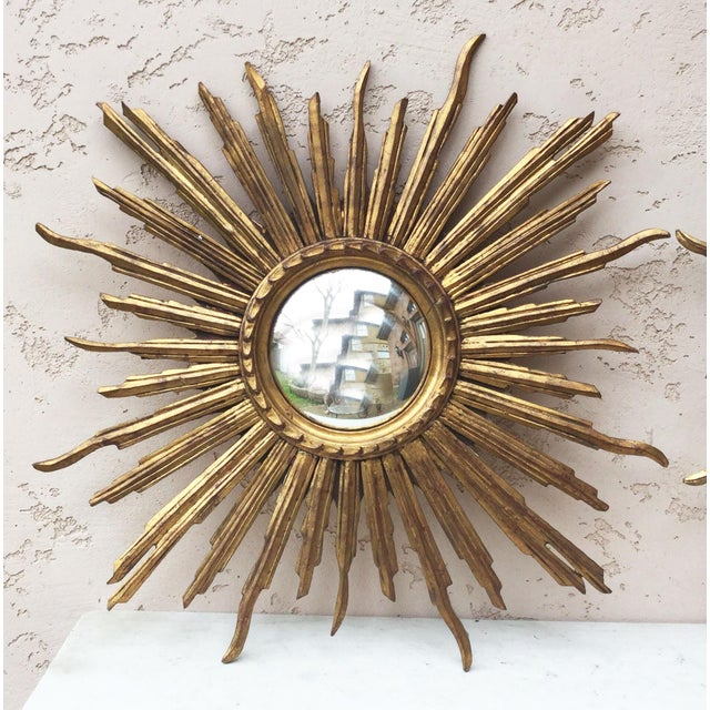 1950s French Convex Sunburst Gilded Wood Mirror For Sale - Image 5 of 5