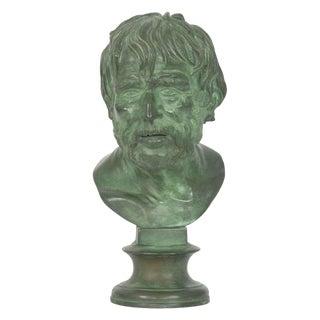 19th Century Antique Bronze Sculpture After Pseudo-Seneca Bust For Sale