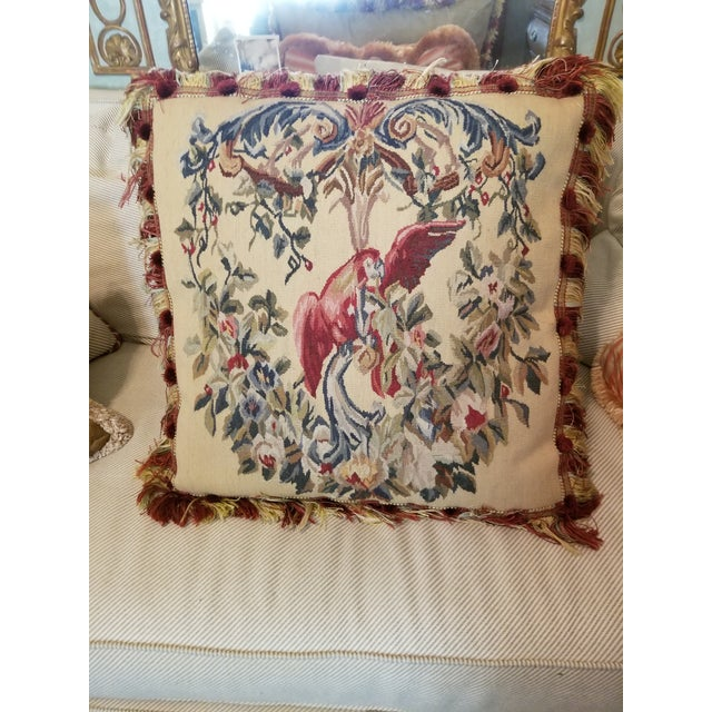 Large Aubusson Style Parrot Pillow For Sale - Image 9 of 10