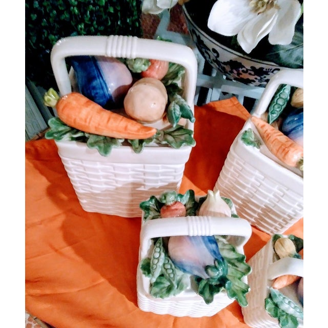 1980s Fitz and Floyd 4 Piece Ceramic Weave Basket Vegetable Canister Set For Sale - Image 5 of 7