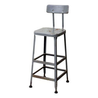 Gray Industrial Tall Back Stool