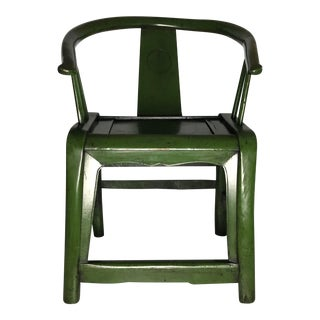 Mid-Century Green Wooden Chinese Horseshoe Chair For Sale