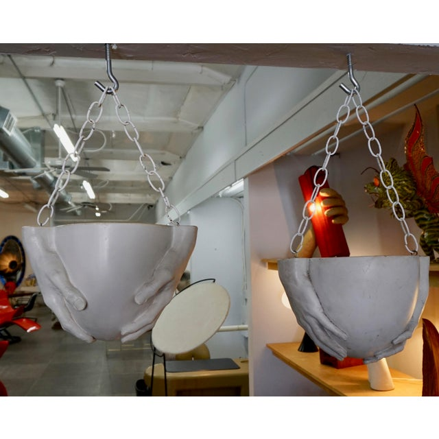 "Richard Etts 1970s Vintage Richard Etts Hanging ""Hands"" Planters - a Pair For Sale - Image 4 of 9"