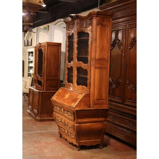 18th Century Antique French Louis XV Carved Walnut Bombe Secretary Bookcase Preview