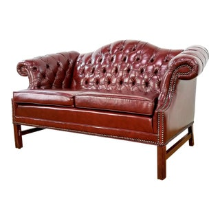 1970s Vintage Chesterfield Tufted Hickory Leather Sofa Loveseat For Sale