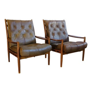 1960's Läckö Leather Armchairs by Ingemar Thillmark - a Pair For Sale