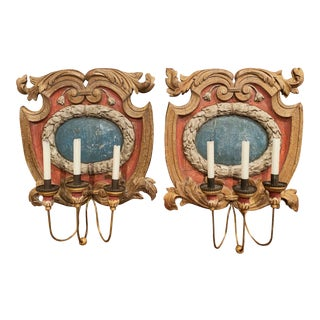18th Century Italian Carved Giltwood and Polychrome Wall Sconces - a Pair For Sale