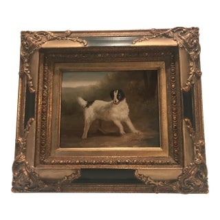 Early 20th Century Antique John Gray Sheep Hunting Dog Framed Oil on Canvas Painting For Sale