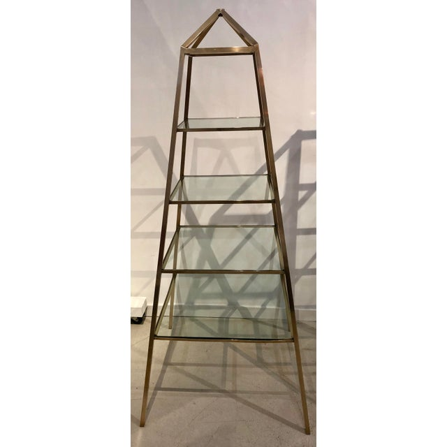 1960s Brass Italian Obelisk Shaped Etageres - a Pair For Sale - Image 11 of 12