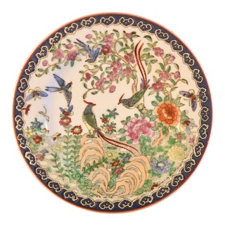 Chinese Hand Painted Rose Canton Charger Plate For Sale