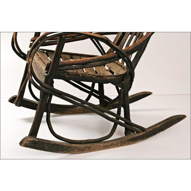 Vintage Adirondack Twig Wood Rocker - Image 8 of 11