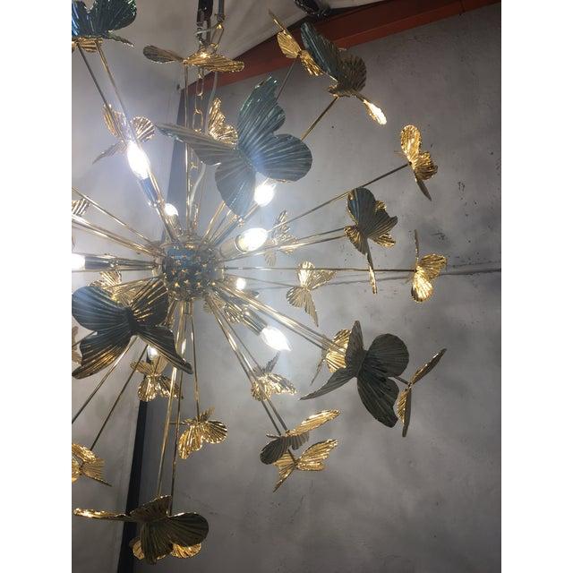 Italian Hand Made Gold 24k Butterfly Sputnik Chandelier For Sale - Image 12 of 13