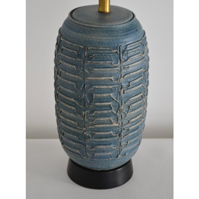 Metal 1950s Mid-Century Hand Thrown Ceramic Table Lamp For Sale - Image 7 of 13