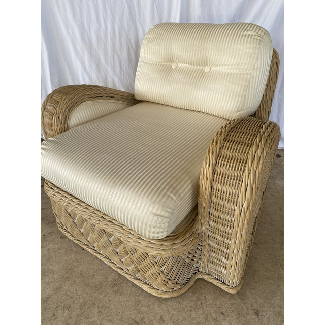 Coastal Wicker Braid Lounge Chair For Sale - Image 10 of 13