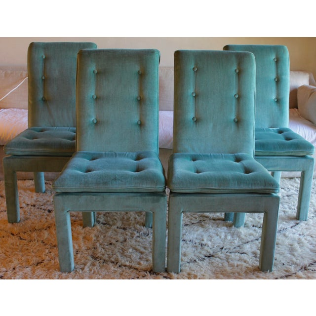 1970s Mid Century Modern Tufted Teal Green Velvet Parsons Dining Chairs Milo Baughman Style - Set of 4 For Sale - Image 9 of 13