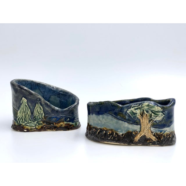 American Handmade Ceramic Business Card Holders With Painted and Textured Landscapes - a Pair For Sale - Image 3 of 9