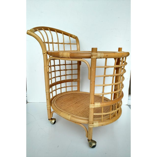 1970's Rattan 2-Tier Bar Cart with Swivel Casters - Image 8 of 8