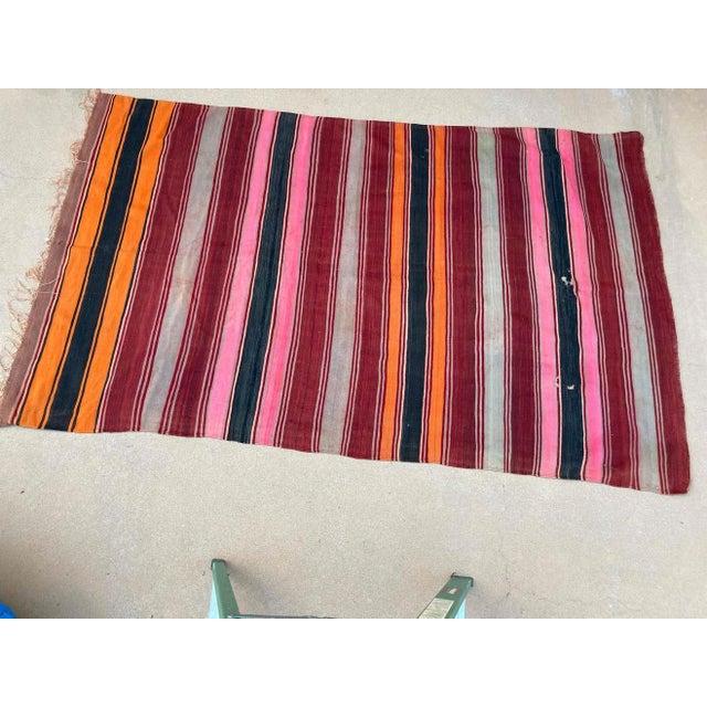 Textile Moroccan Vintage Flat-Weave Stripe Kilim Rug For Sale - Image 7 of 13