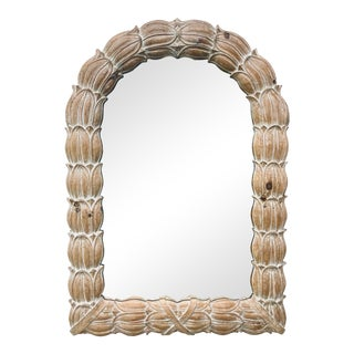 Mid-Century Whitewashed Finish Carved Tulip Wall Mirror For Sale