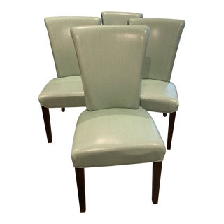 Leather Parsons Chairs - Set of 4 For Sale