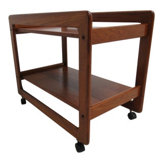 Vintage Custom Danish Modern Floating Solid Teak Tea Cart / Bar Liqour Cabinet