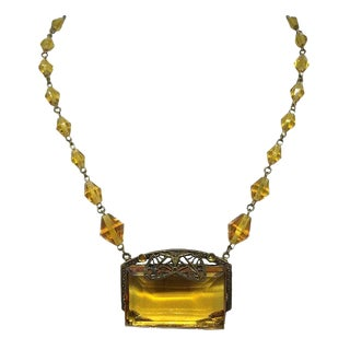 Circa 1920s Czech Topaz Glass Necklace For Sale