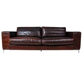 Danish DUX Brown Leather Sofa