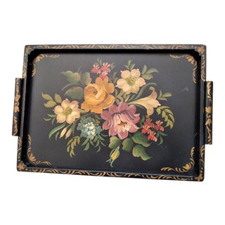Large Vintage Hand Painted Wood Tray Cabbage Roses on Black