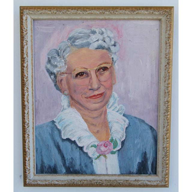 Mid-Century Oil Painting Portrait - Image 2 of 7