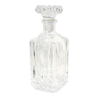 Cristal d'Arques-Durand Tuilleries Villandry Heavy Cuts Square Top Decanter For Sale