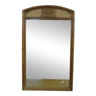 1960s Vintage Drexel Mid Century Modern Rattan Mirror For Sale