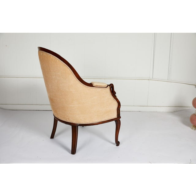 French Empire Style Swan Arm Tub Chair For Sale - Image 4 of 9