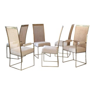 Set of 6 Milo Baughman Brass and Cane Dining Chairs in Boucle for Thayer Coggin For Sale