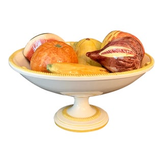 Vintage Italian Majolica Ceramic Pedestal Bowl With 7 Pieces of Fruit For Sale