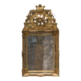 18th Century Carved Gilt Wood Louis XIV Mirror For Sale