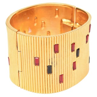 Paloma Picasso Glass and Ribbed Gold Filled Cuff Bracelet For Sale