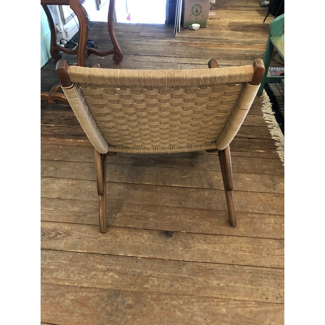 Organic Mid Century Modern Woven Rope and Teak Folding Armchair For Sale In Philadelphia - Image 6 of 12